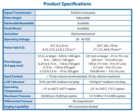 Rotary Pulser - Positive Mud Pulse specification